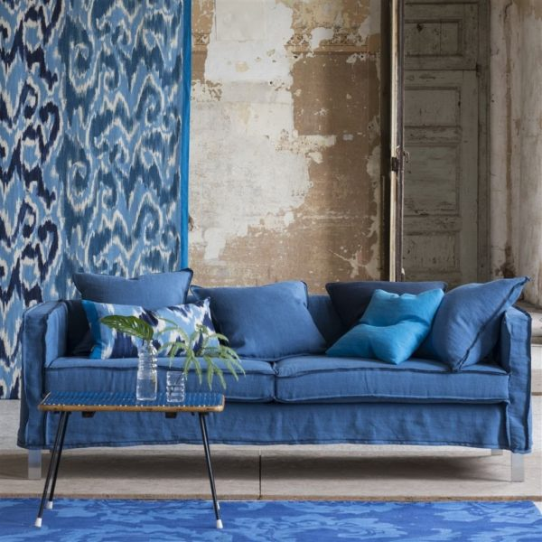 Brera Lino Ultramarine Fabric by Designers Guild