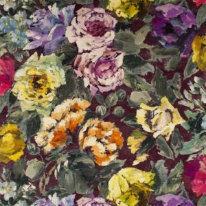 Bloomsbury Rose Damson Fabric by Designers Guild