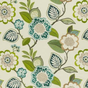 Beaulieu Aqua Citron Fabric by Clarke & Clarke