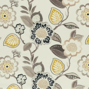 Beaulieu Charcoal/Chartreuse Fabric by Clarke & Clarke