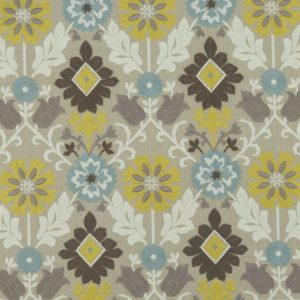 Augustina Mineral/Citron Fabric by Clarke & Clarke