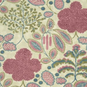 Bloomsbury Berry/Teal Fabric by Clarke & Clarke
