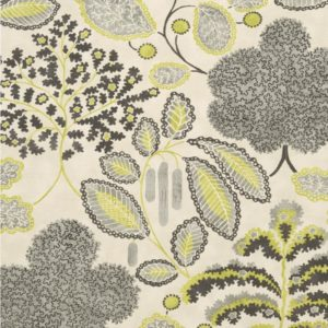 Bloomsbury Charcoal/Chartreuse Fabric by Clarke & Clarke