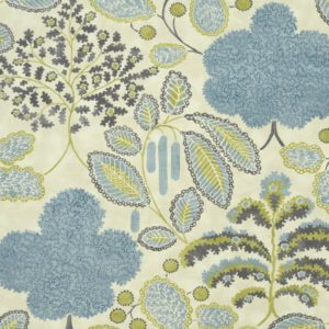 Bloomsbury Mineral/Citron Fabric by Clarke & Clarke