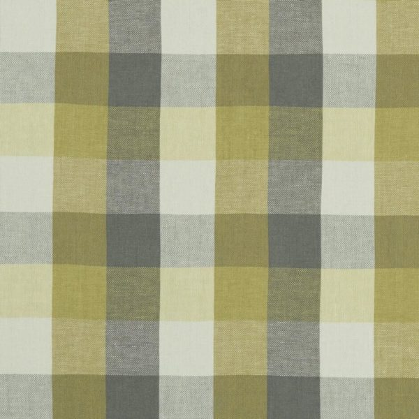 Austin Check Citron/Natural Fabric by Clarke & Clarke