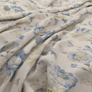 Archive Linen - Chantilly Delft Fabric by Warwick (Archive Linen-Chantilly Delft)