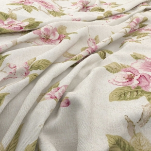 Archive Linen - Fleurie Pink Fabric by Warwick (Archive Linen-Fleurie Pink)