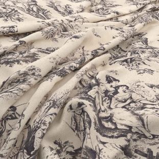Archive Linen - Valencay Charbon Fabric by Warwick (Archive Linen-Valencay Charbon)
