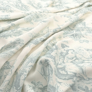 Archive Linen - Valencay Toile Bleu Fabric by Warwick (Archive Linen-Valencay Toile Bleu)