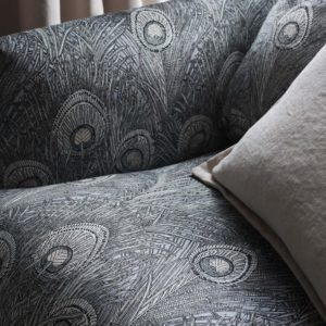 Hera Feather Vintage Velvet - Pewter Fabric by Liberty
